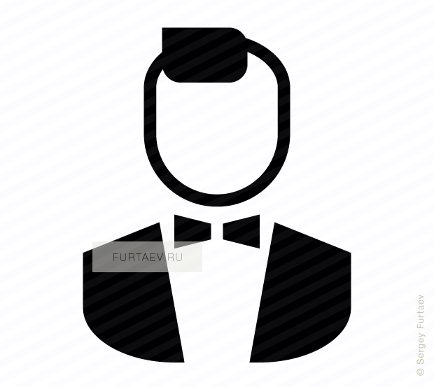 Vector icon of male person in tailcoat with bow tie
