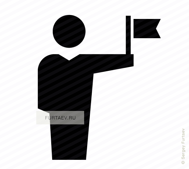 Vector icon of male person holding small flag in his hand