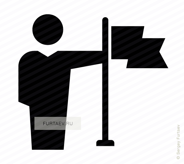 Vector icon of male person holding large fluttering flag in his hand