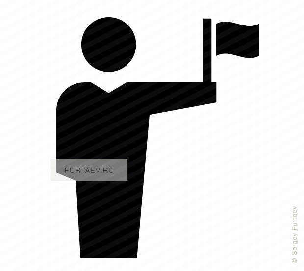 Vector icon of male person holding fluttering flag in his hand