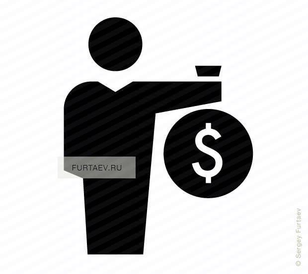 Vector icon of male person holding big sack with dollar sign in his hand