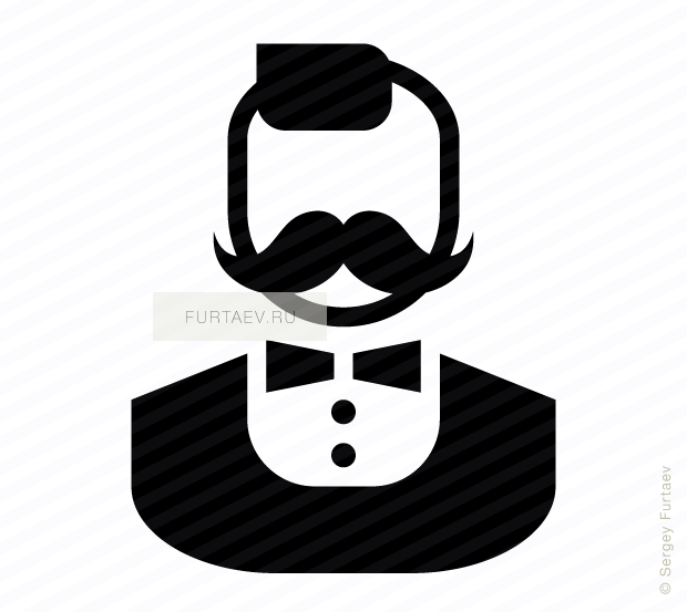 Vector icon of stylish male person with moustache and bow tie