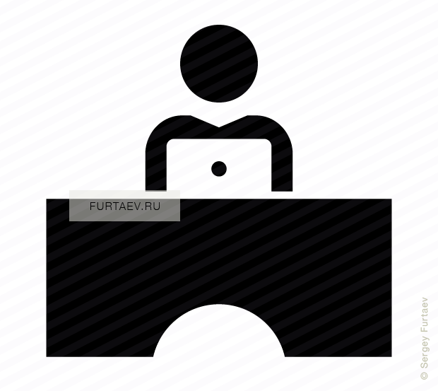 Vector icon of male person working on laptop sitting at table