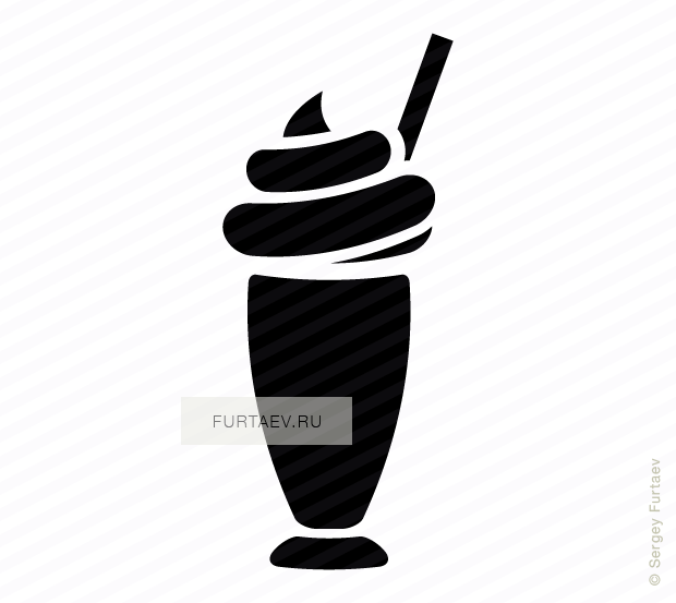 Vector icon of milkshake with straw