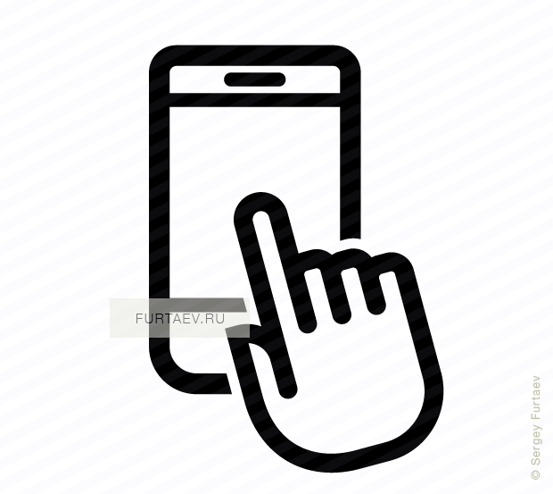 Vector icon of vertically situated smartphone under index finger