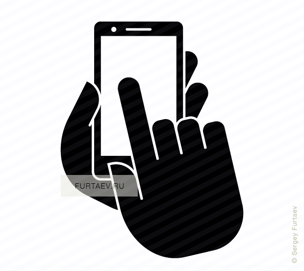 Vector icon of smartphone in hand under index finger