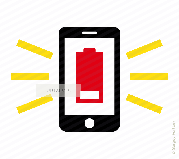 Vector icon of smartphone with battery showing low charge