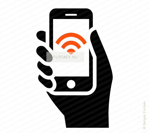Vector icon of mobile phone in hand with Wi-Fi signal on screen