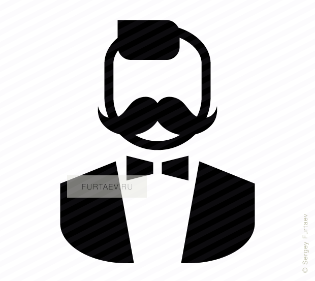 Vector icon of stylish man with moustache and bow tie