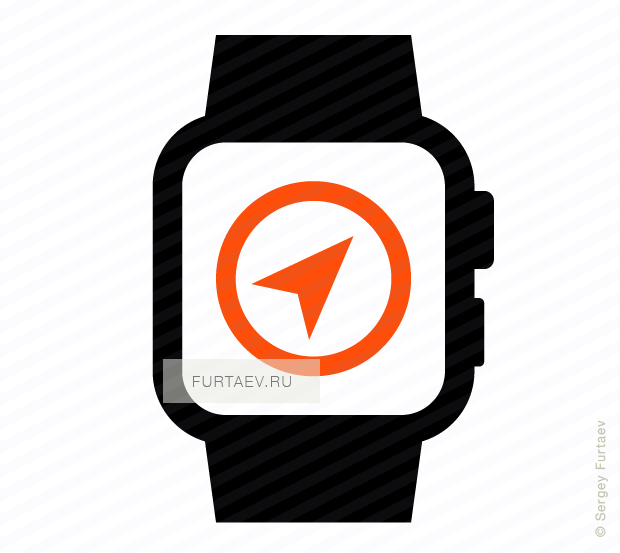 Vector icon of smart watch with compass arrow on screen