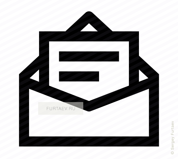 Vector icon of opened envelope with text page inside