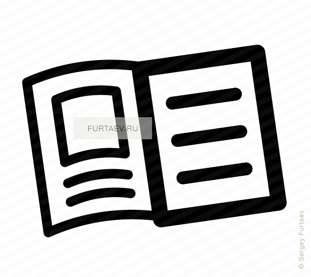 Vector icon of opened handbook