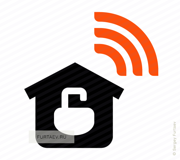 Vector icon of wireless signal going from house with opened padlock