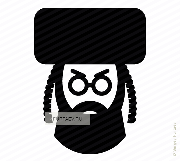Vector icon of religious jewish man with sidelocks wearing shtreimel hat