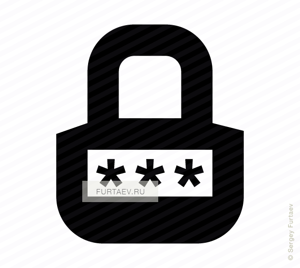 Vector icon of padlock with pin code