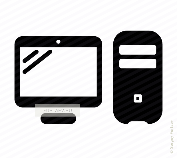Vector icon of personal computer