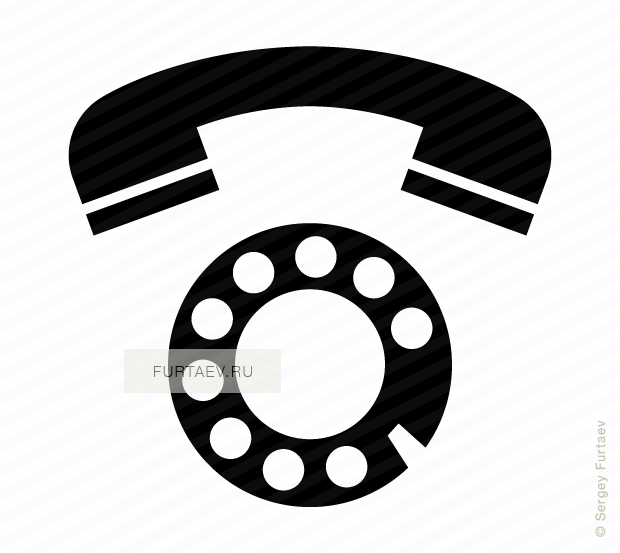 Vector icon of rotary dial and handset
