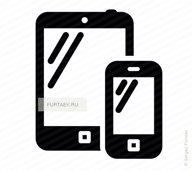 Vector icon of mobile phone and tablet computer