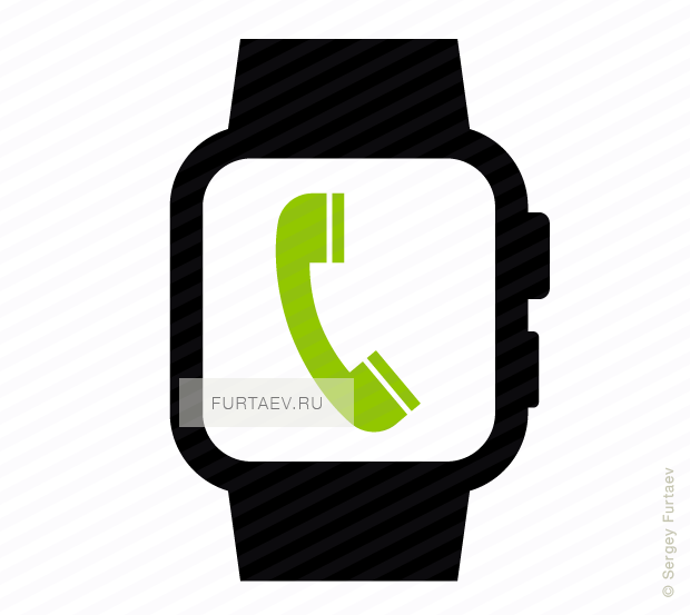 Vector icon of smart watch with handset on screen