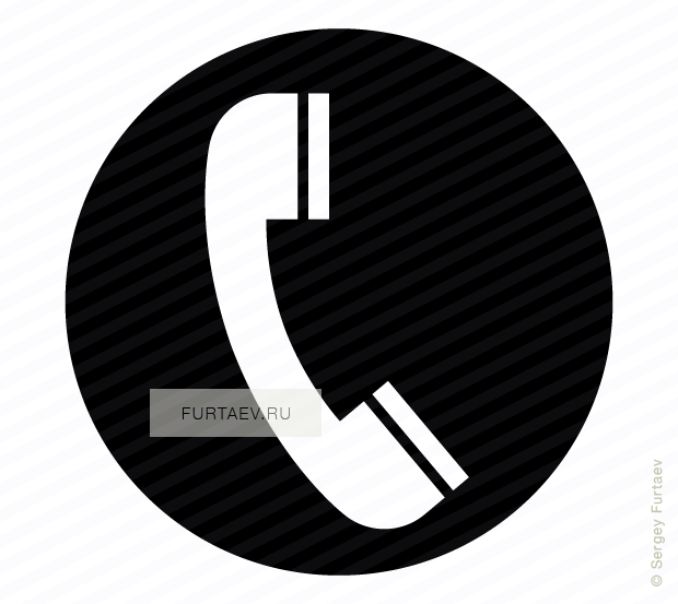 Vector icon of telephone receiver against circle