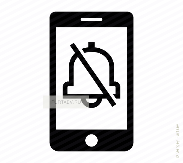 Vector icon of mobile phone with crossed out bell on screen