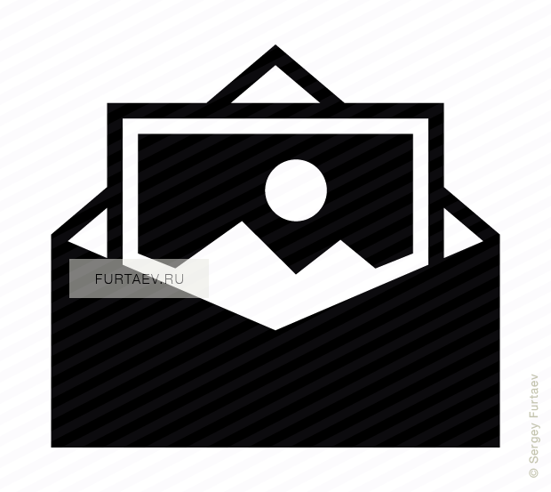 Vector icon of opened envelope with picture inside