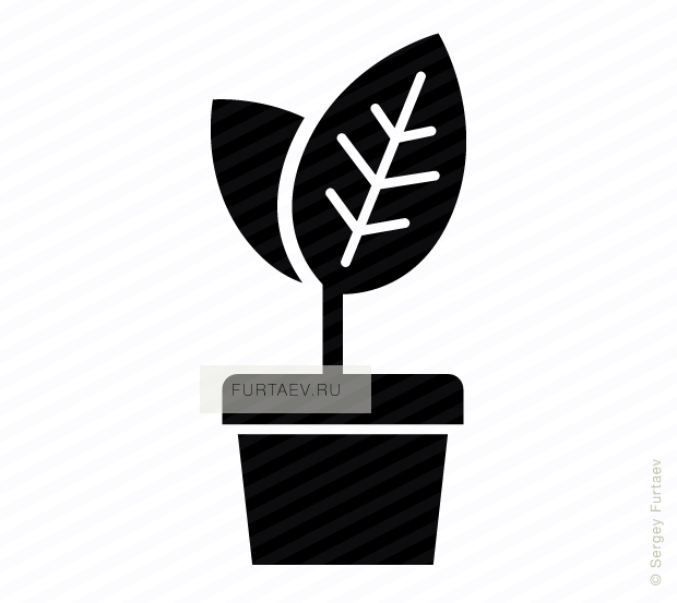 Vector icon of flowerpot with growing up young leaves