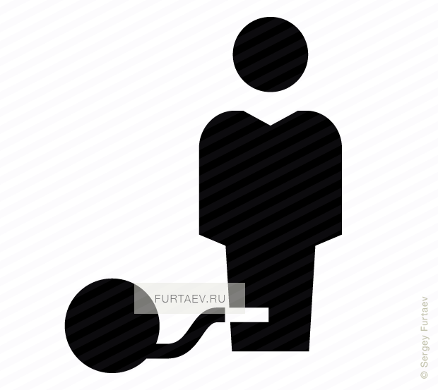 Vector icon of male person chained with heavy ball