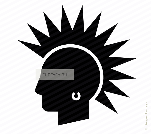 Vector icon of male profile with mohawk hairstyle