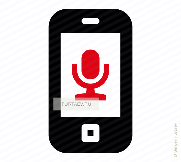 Vector icon of mobile phone with microphone on screen