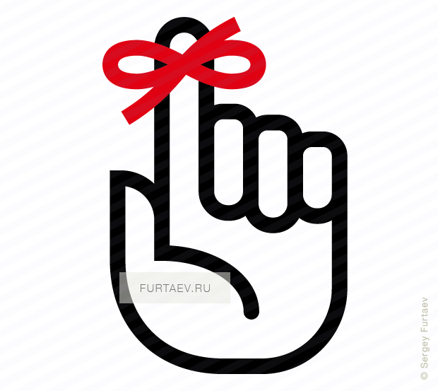 Vector icon of raised index finger with reminder knot