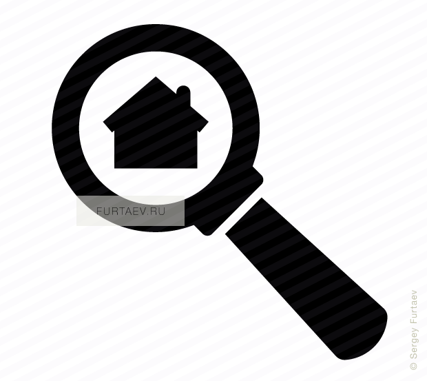 Vector icon of house under magnifying glass
