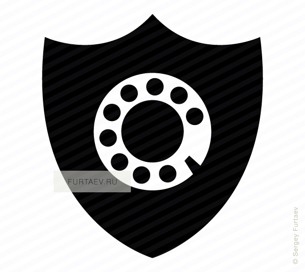 Vector icon of rotary dial on shield