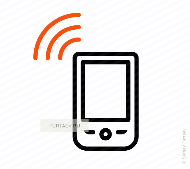 Vector icon of wireless signal going from mobile phone
