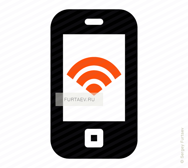 Vector icon of mobile phone with Wi-Fi signal on screen