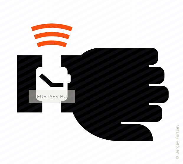 Vector icon of wireless signal going from smart watch on hand