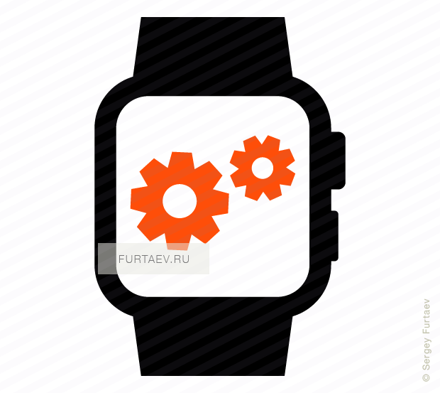 Vector icon of smart watch with gears on screen