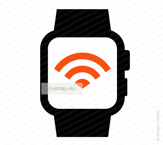 Vector icon of smart watch with Wi-Fi signal on screen