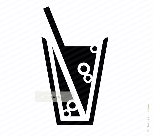 Vector icon of soft drink glass with drinking straw