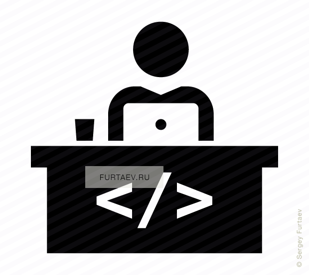 Vector icon of male software developer working on laptop sitting at table with code sign