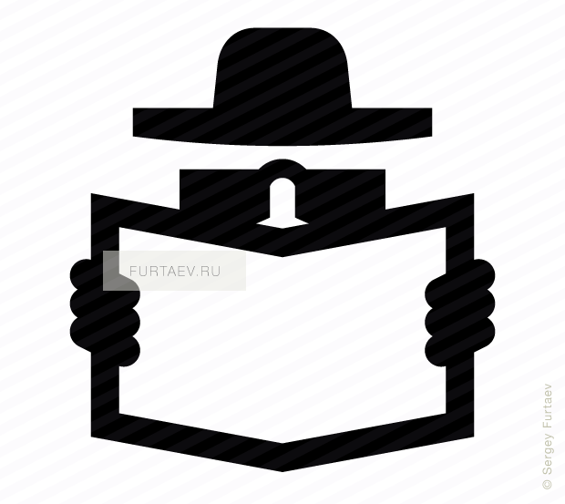 Vector icon of detective in hat and black glasses with newspaper in his hands