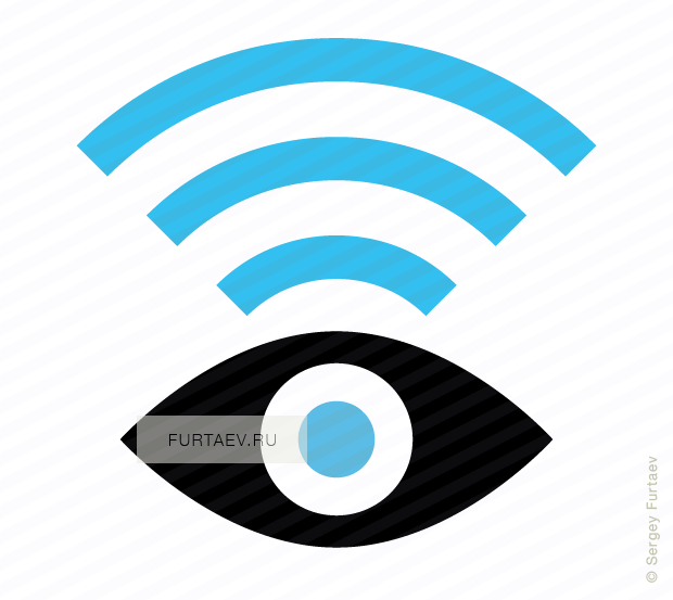Vector icon of eye with Wi-Fi signal