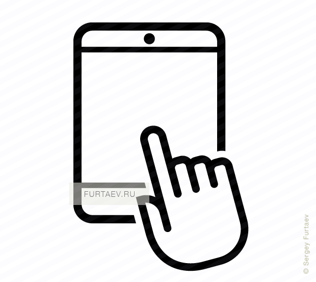 Vector icon of vertically situated tablet computer under index finger