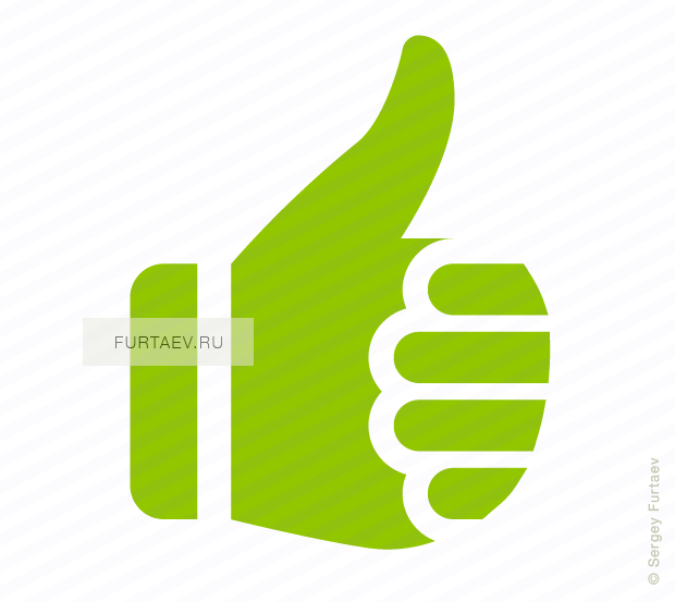 Vector icon of thumbs-up approval hand gesture