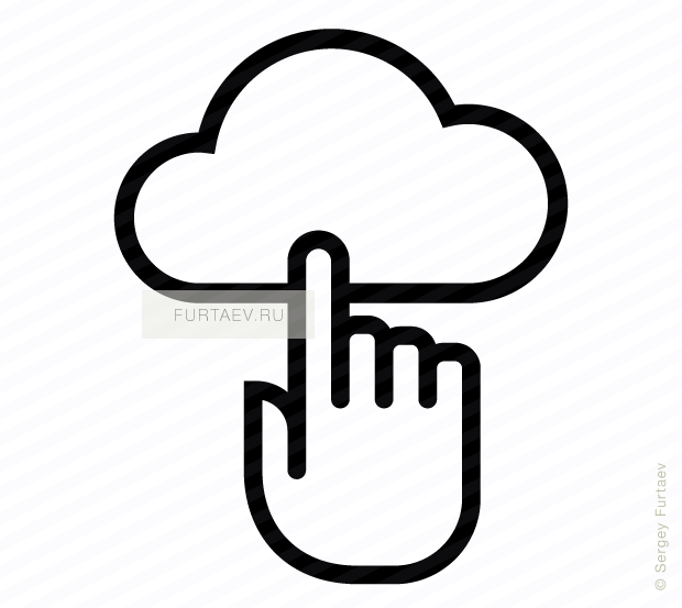 Vector icon of cloud under index finger