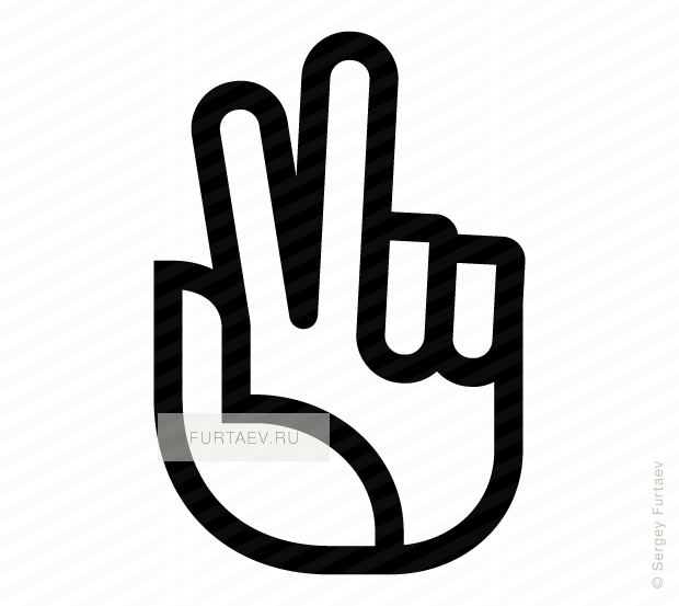 Vector icon of hand with raised and parted index and middle fingers