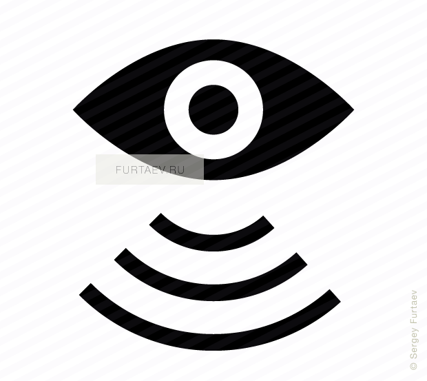 Vector icon of eye with wireless signal