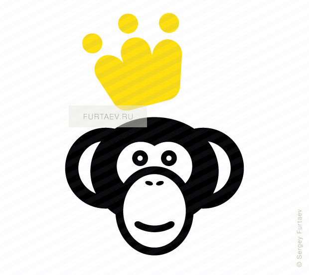 Vector icon of monkey with crown