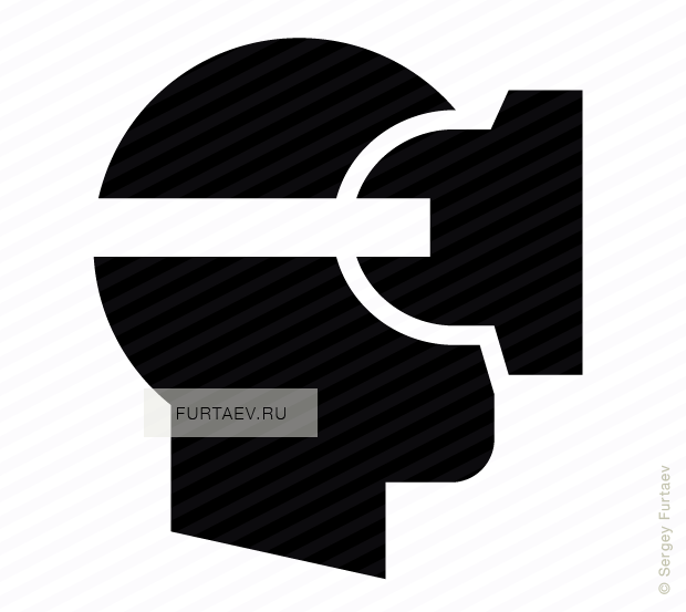 Vector icon of male profile with virtual reality headset
