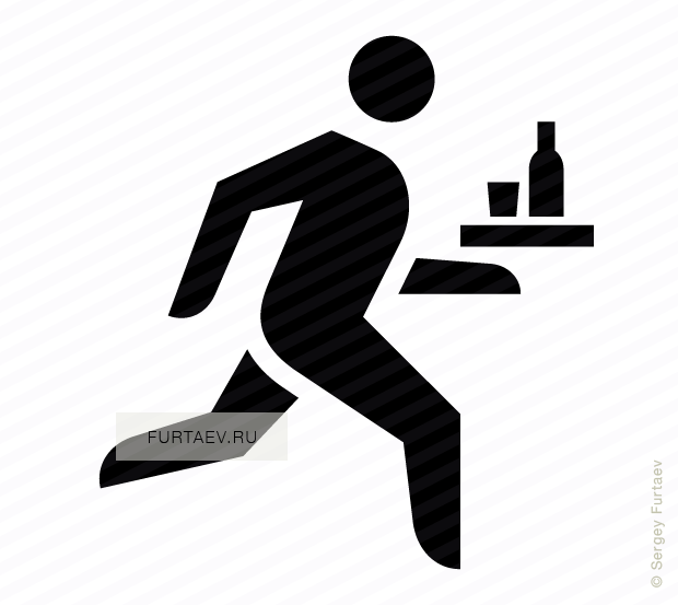 Vector icon of running man with bottle and glass on platter in his hand